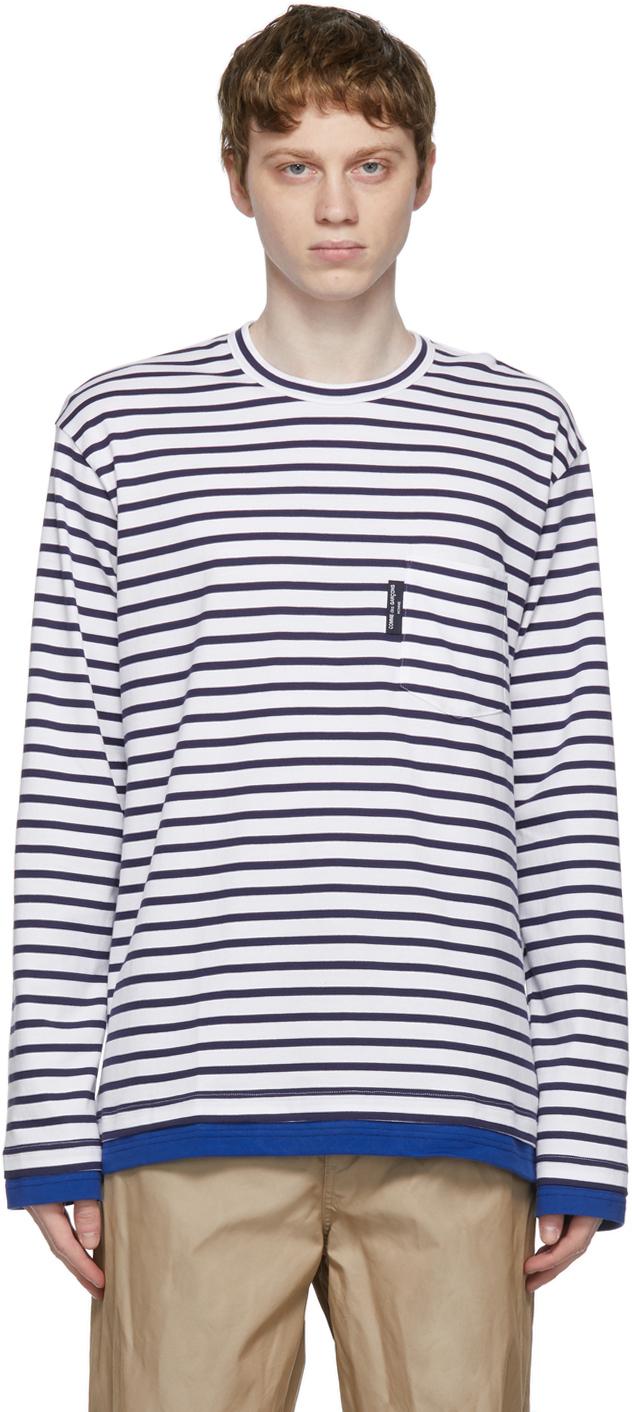 White & Navy Striped Pocket Long Sleeve T-Shirt