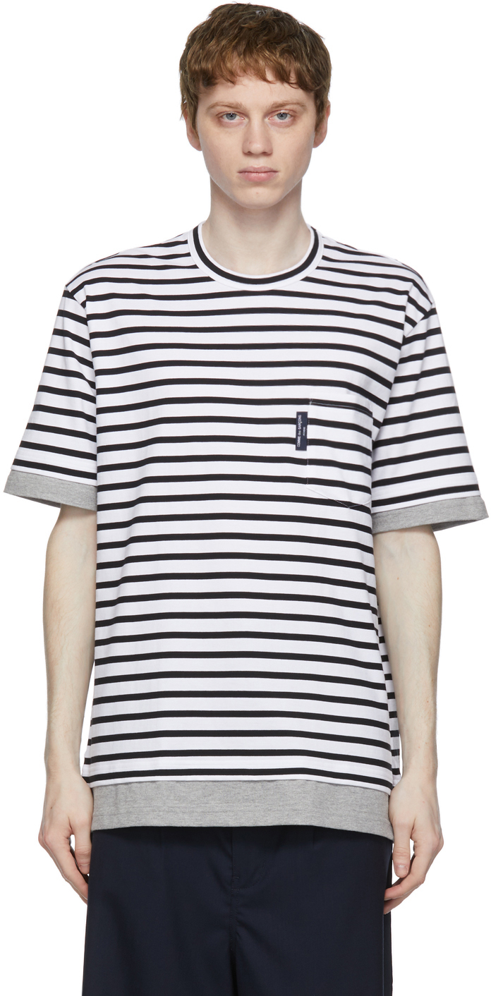 White & Black Striped Pocket T-Shirt