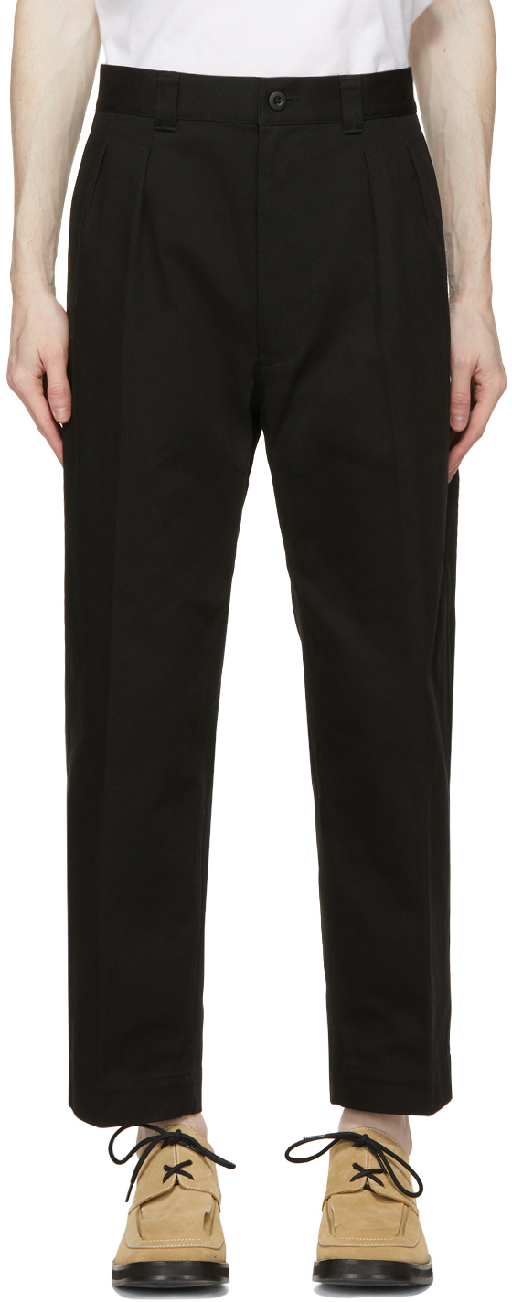 Black Cotton Drill Trousers