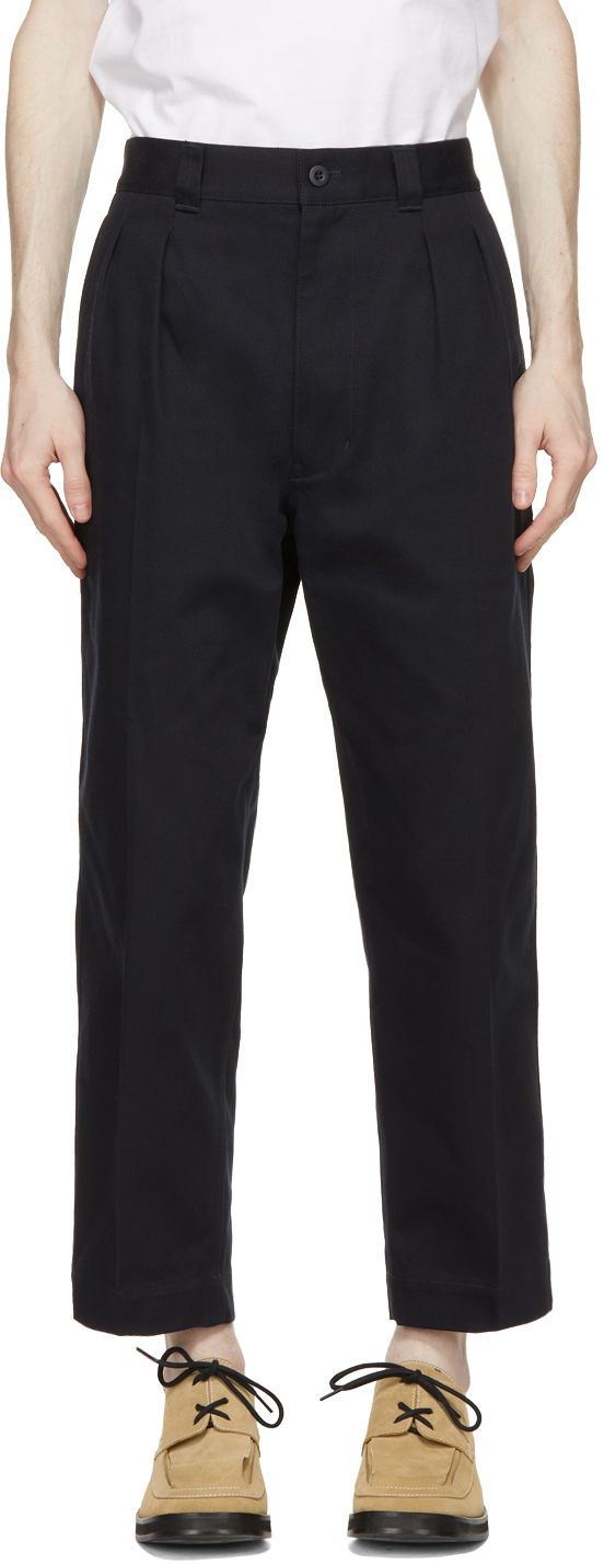 Navy Cotton Drill Trousers