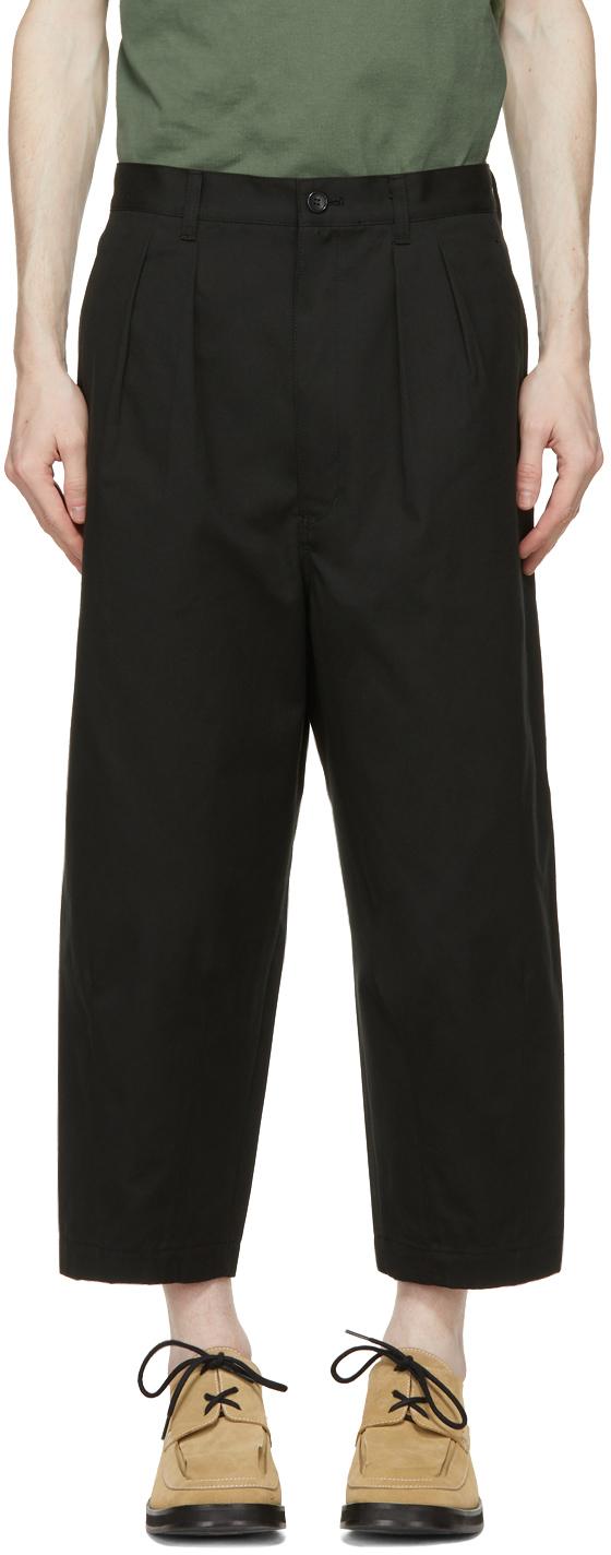 Black Cotton Canvas Trousers