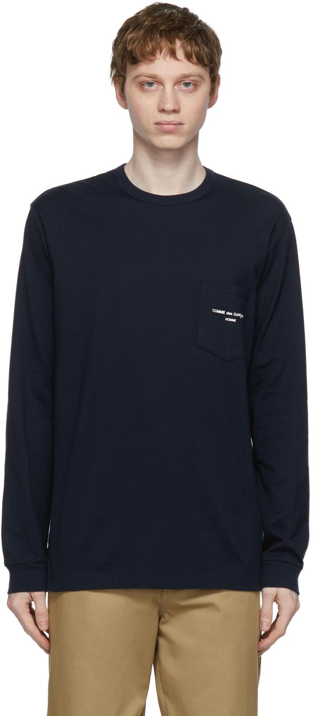 Navy Logo Pocket Long Sleeve T-Shirt