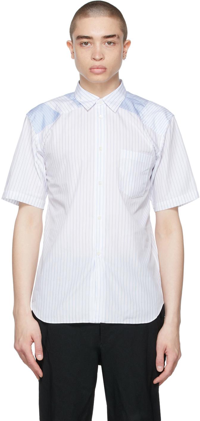 White & Blue Poplin Stripe Shirt
