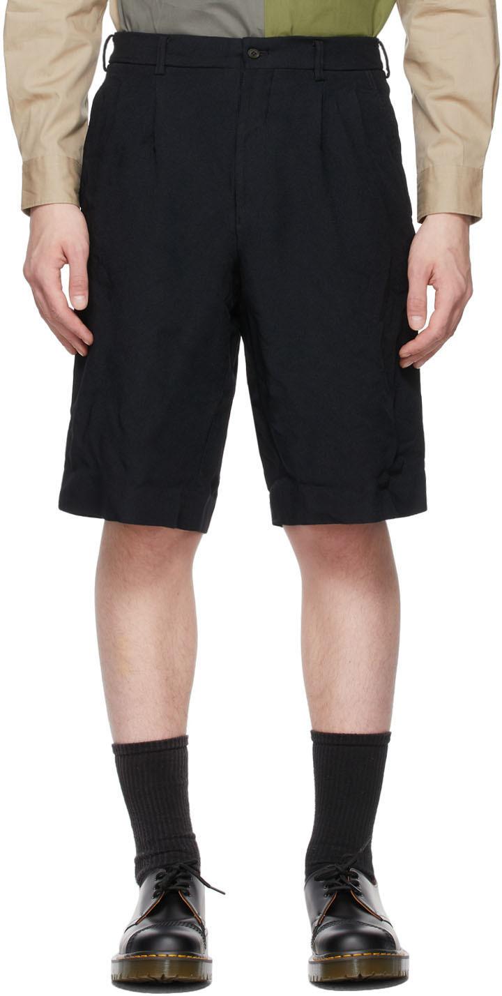 Navy Pleated Bermuda Shorts