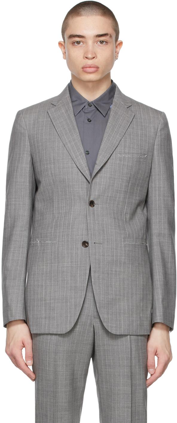 Grey Wool Stripe Blazer
