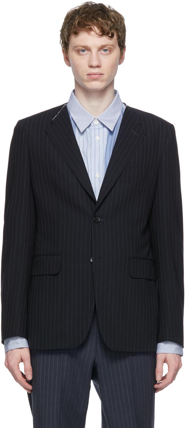 Navy Wool Twisted Stripe Blazer