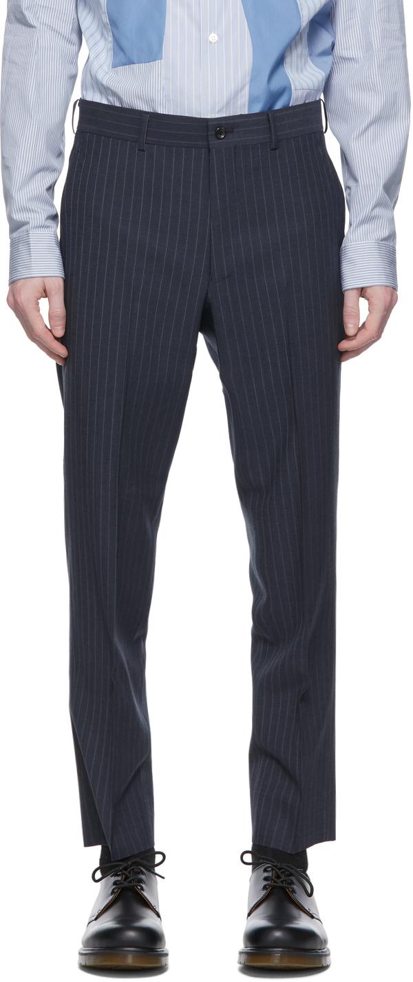 Blue Wool Twisted Stripe Trousers