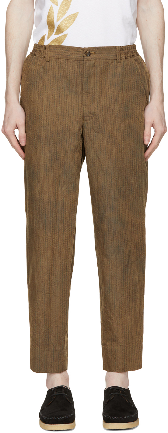 Brown Herringbone Stripe Trousers