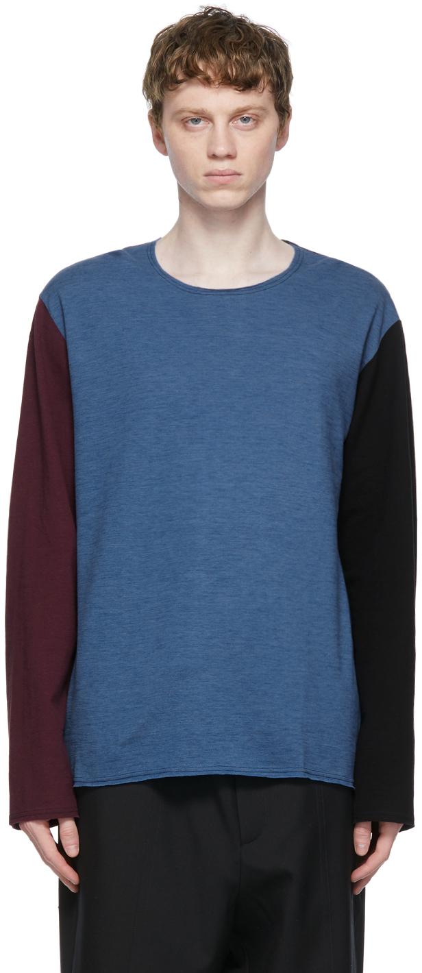 Blue Colorblock Long Sleeve T-Shirt