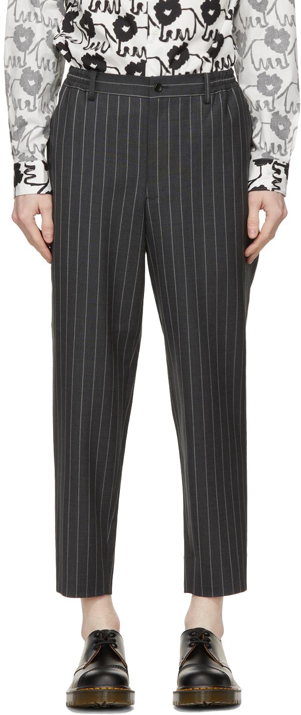 Grey Wool & Mohair Stripe Trousers