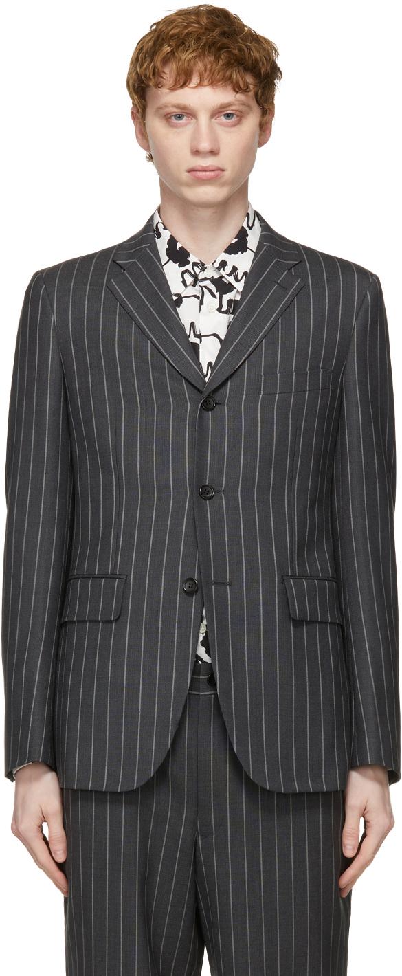 Grey Wool & Mohair Stripe Blazer