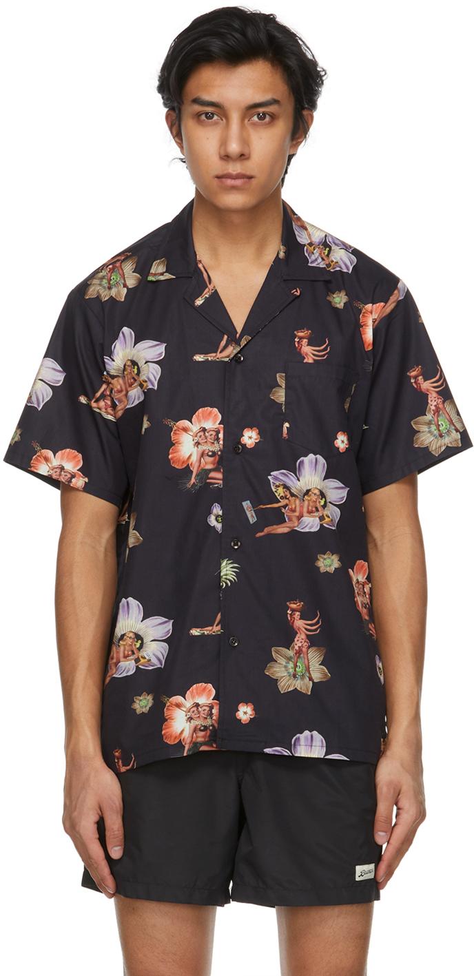 Black Printed Camp Short Sleeve Shirt
