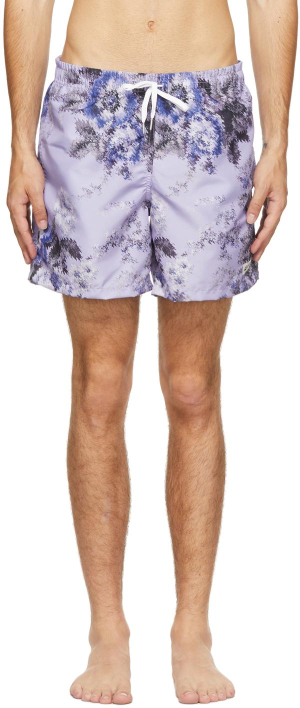Purple Floral Ripple Swim Shorts