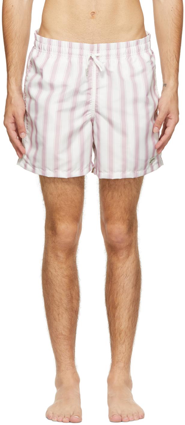 Pink & White Stripe Swim Shorts