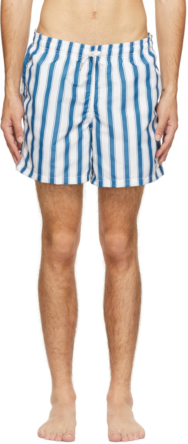 Blue & White Stripe Swim Shorts