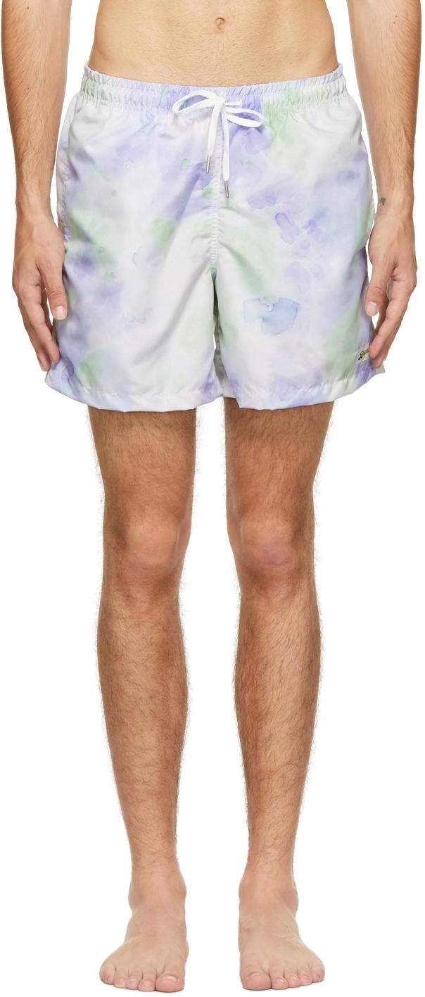 Purple & Green Tie-Dye Swim Shorts