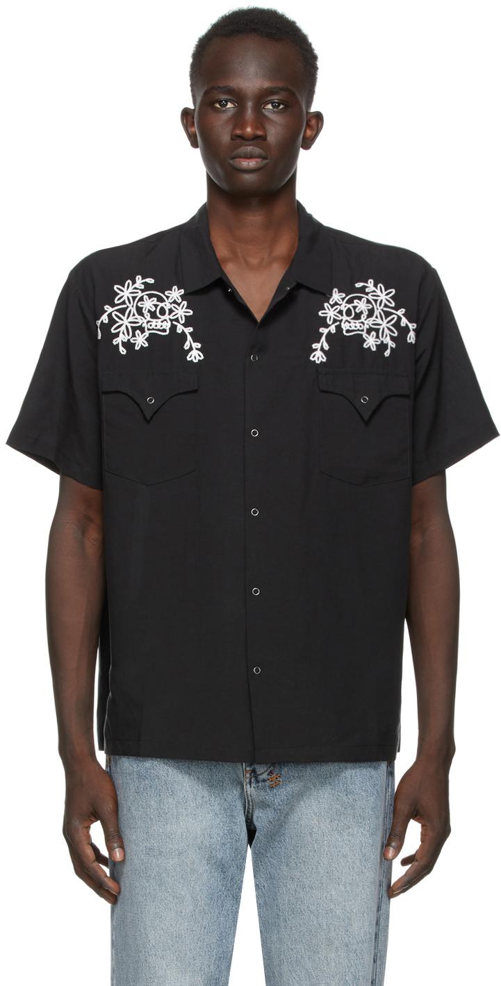 Double Rainbouu Black Loop Skull West Coast Short Sleeve Shirt