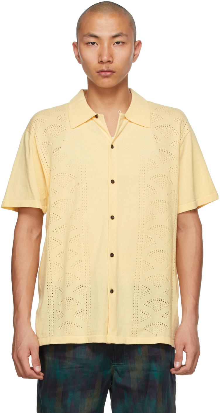 Double Rainbouu Yellow Knit 'Retro Rainbouu' Short Sleeve Shirt