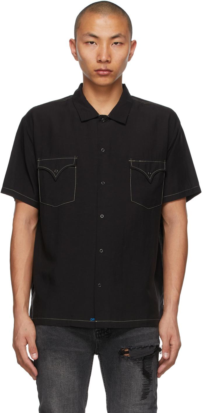 Double Rainbouu Black Contrast West Coast Short Sleeve Shirt