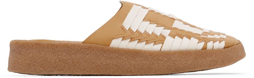 Tan & Off-White Vegan Leather & Hemp Thunderbird Sandals