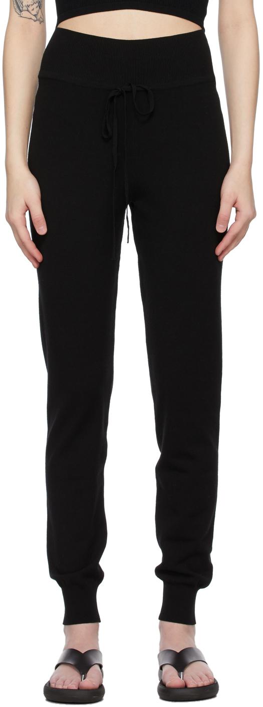 Black High-Waisted Knit Pants