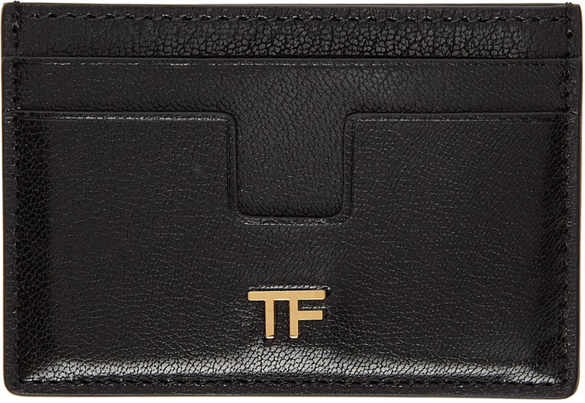 Black Shiny Leather 'TF' Card Holder