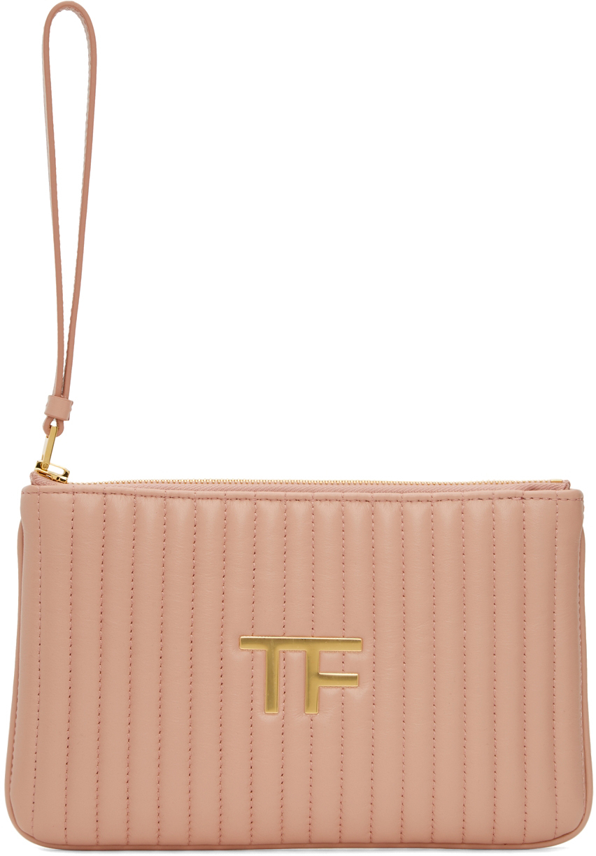 Pink Quilted Leather 'TF' Pouch