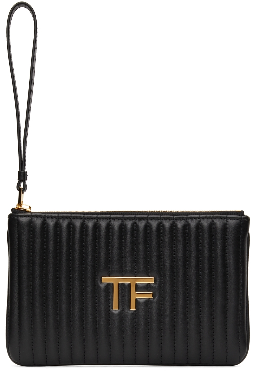 Black Quilted Leather 'TF' Pouch