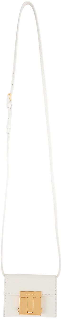 White Logo-Engraved Card Holder Bag