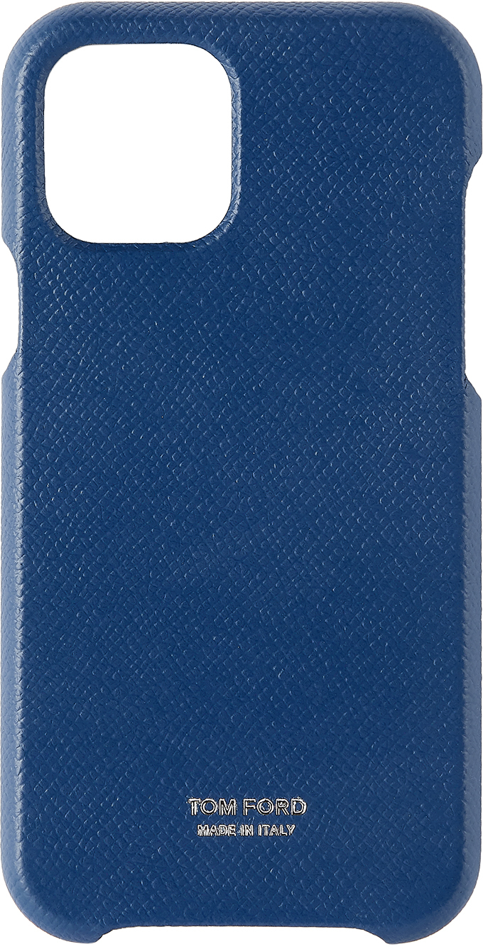 Navy Grained Leather iPhone 11 Pro Case