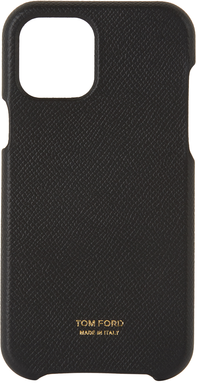 Black Grained Leather iPhone 12 Case
