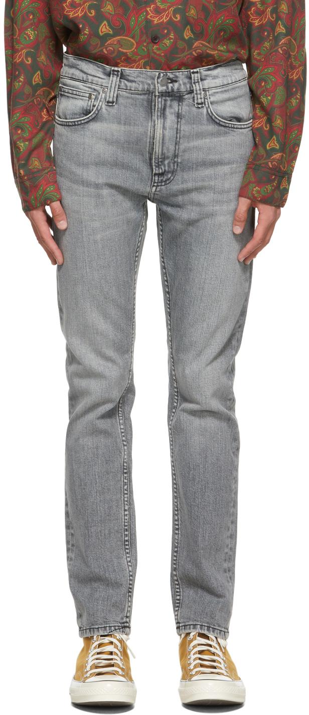 Nudie Jeans Grey Lean Dean Jeans In Smooth Contrast