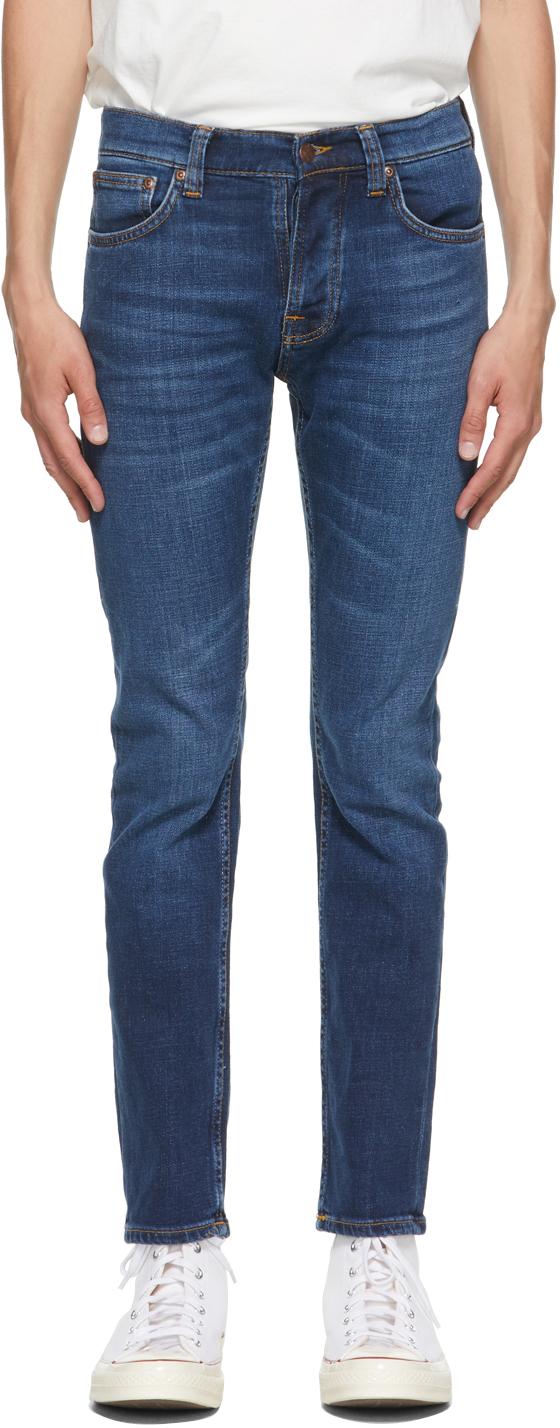 Nudie Jeans Blue Grim Tim Jeans In Indigo Myth