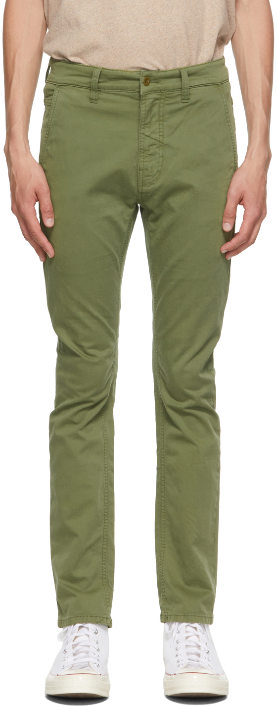 Nudie Jeans Green Slim Adam Chino Trousers In Bunker