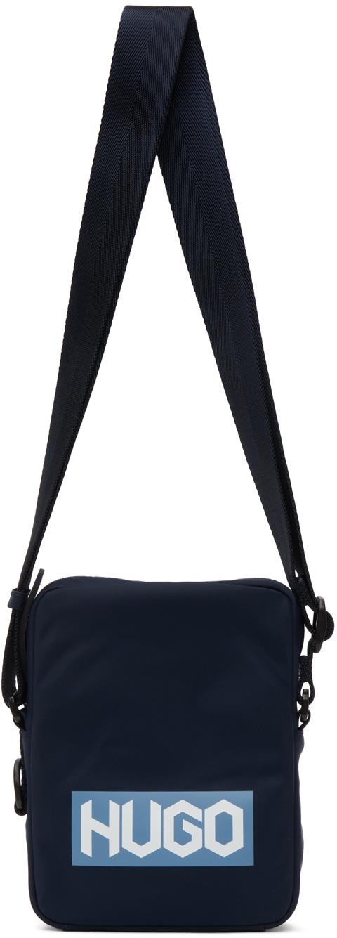 Navy Nylon Reporter Bag