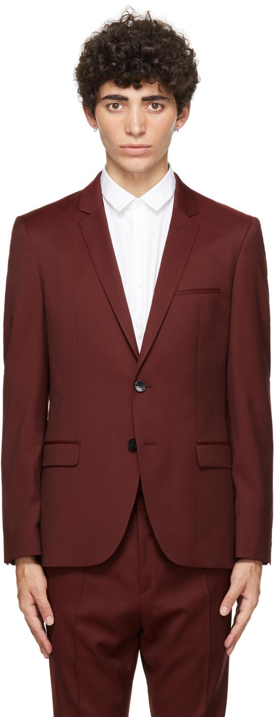 Burgundy Virgin Wool Arti204 Blazer