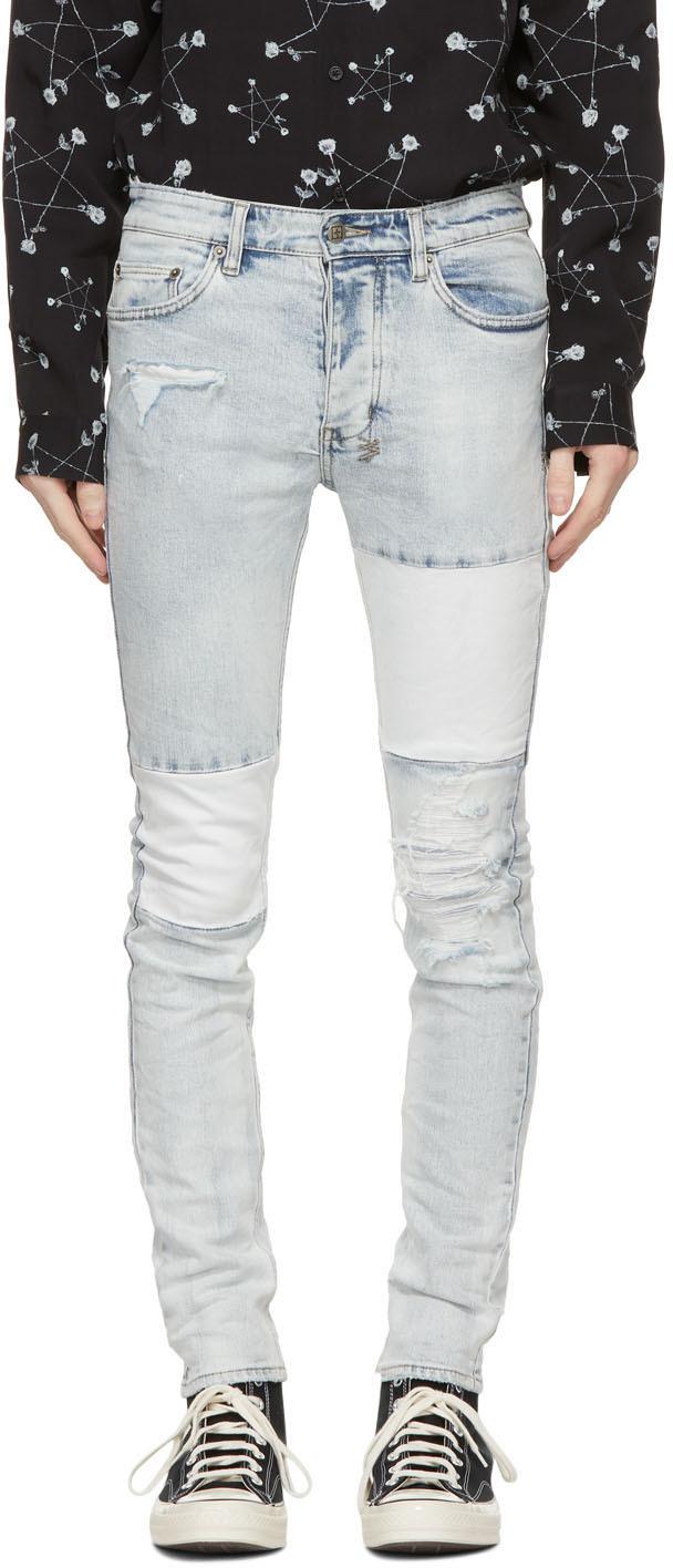Ksubi 蓝色 Chitch 拼接牛仔裤