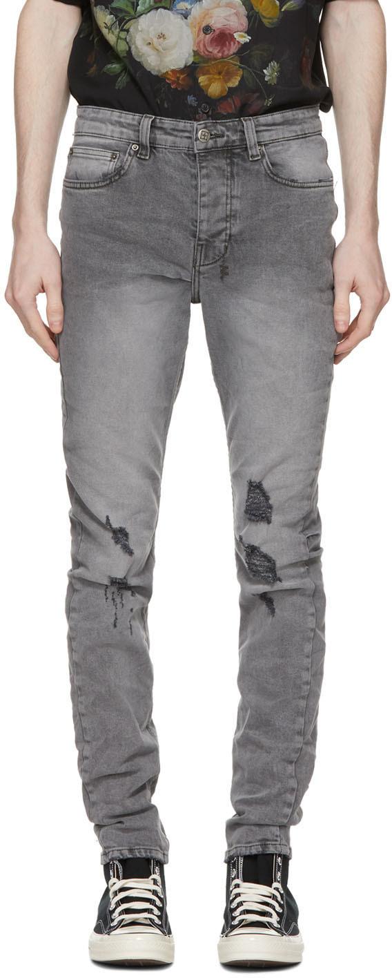 Ksubi 灰色 Chitch 做旧牛仔裤