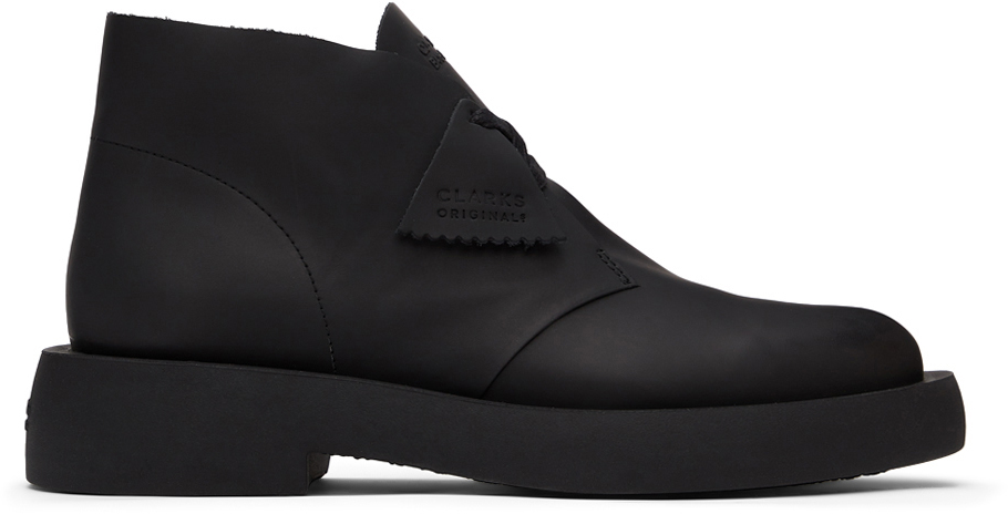 Black Leather Mileno Desert Boots
