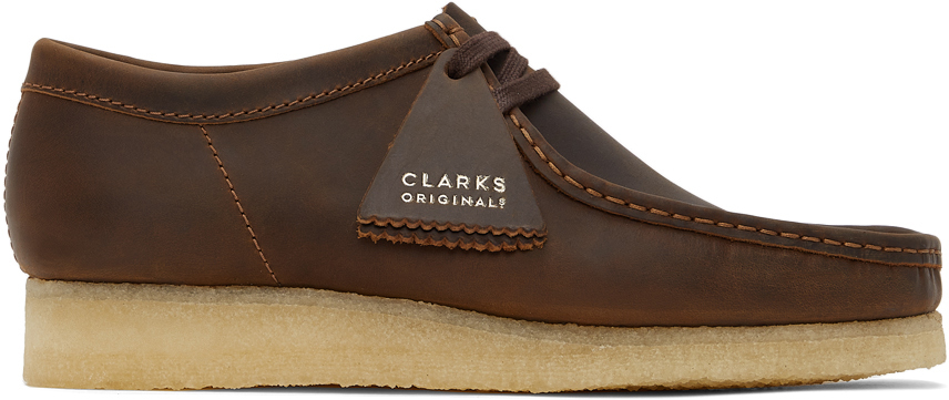 Brown Leather Wallabee Derbys