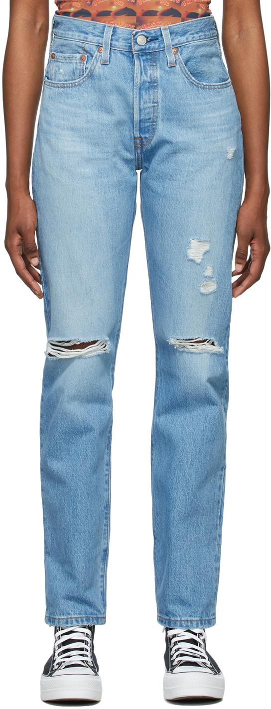 Levi's Blue Denim Ripped 501 Original Fit Jeans
