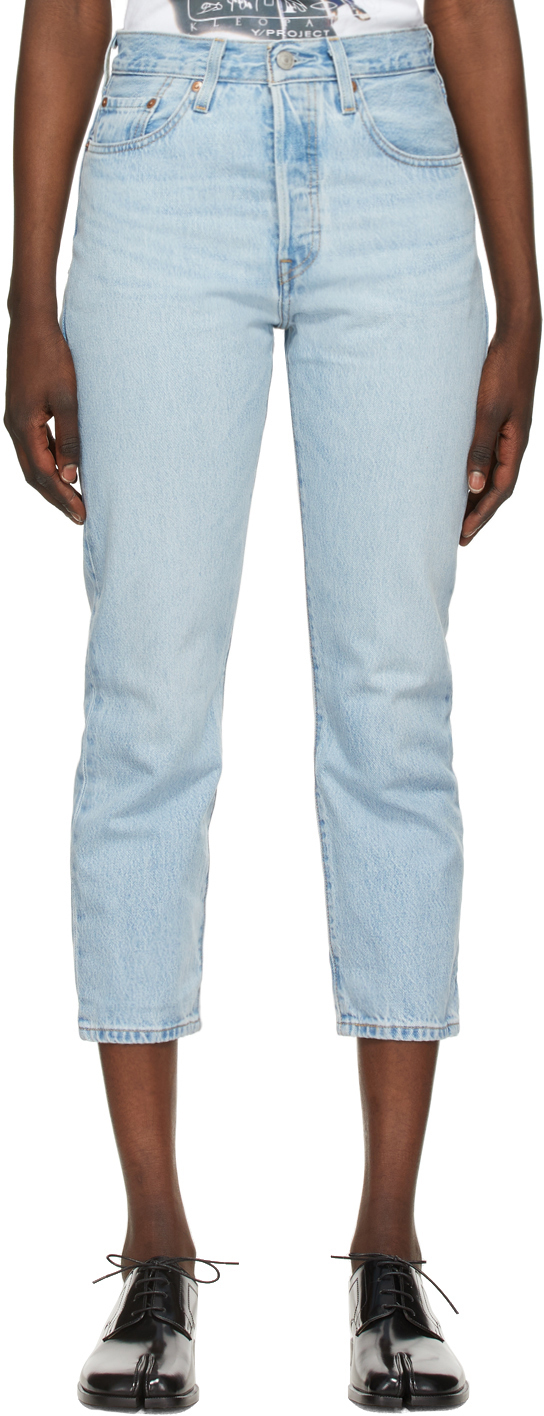 Levi's Blue 501 Original Cropped Jeans