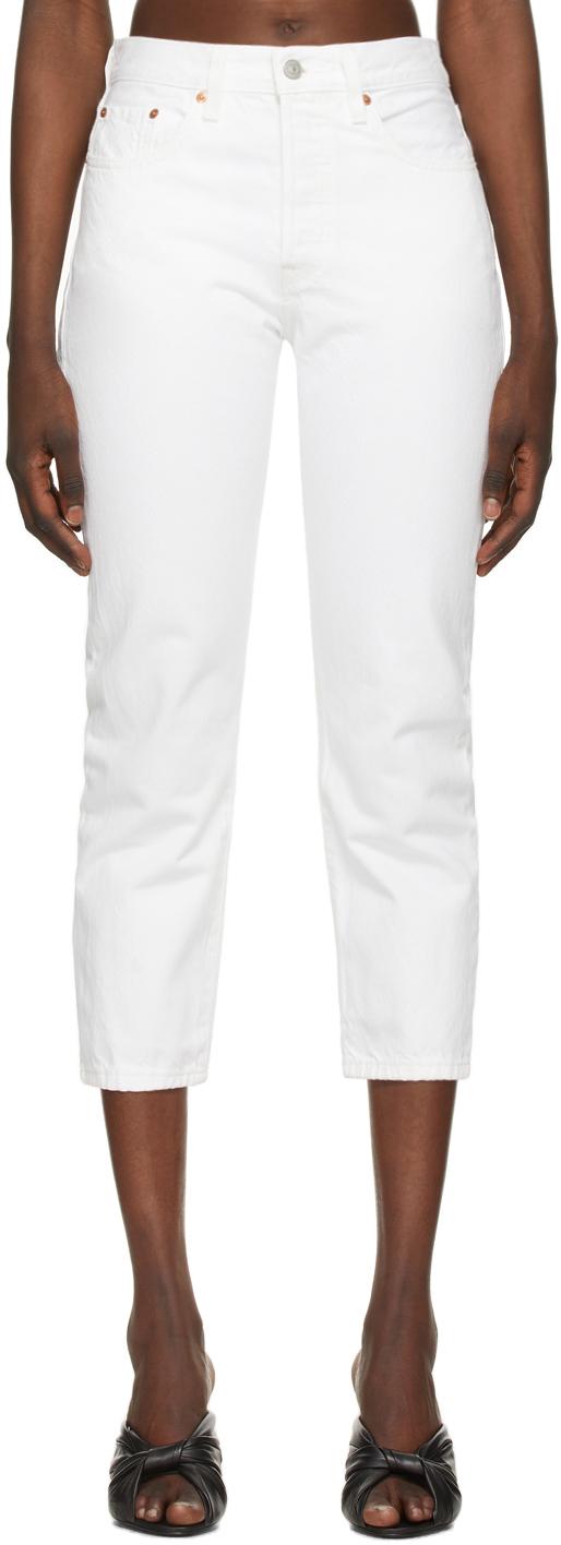 Levi's White 501 Original Cropped Jeans