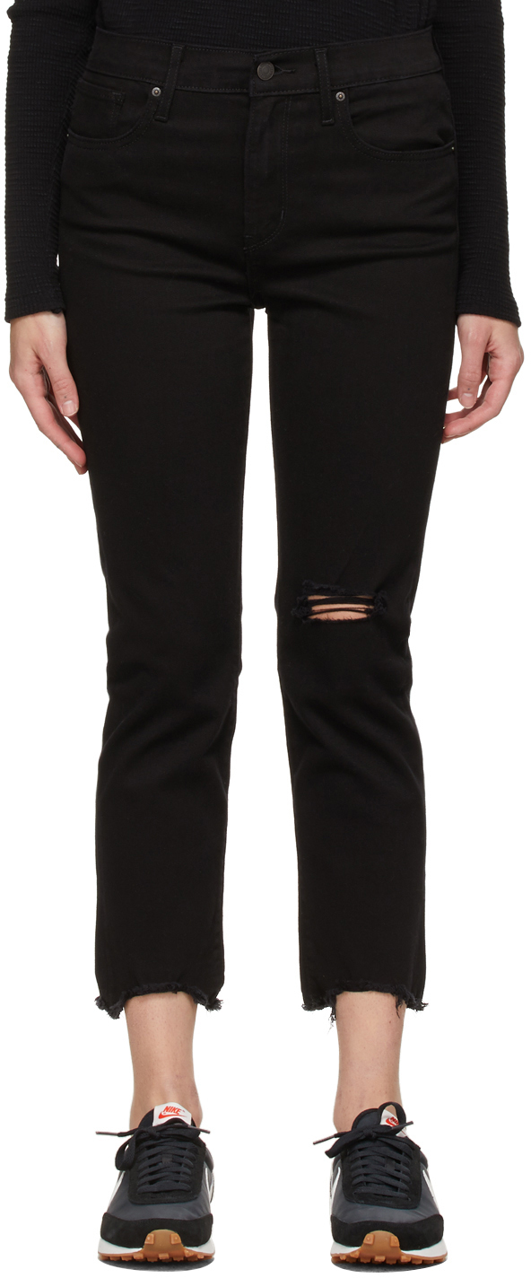 Levi's Black 724 High-Rise Straight Cropped Jeans