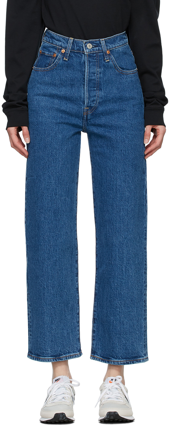 Levi's Blue Ribcage Straight Ankle Jeans