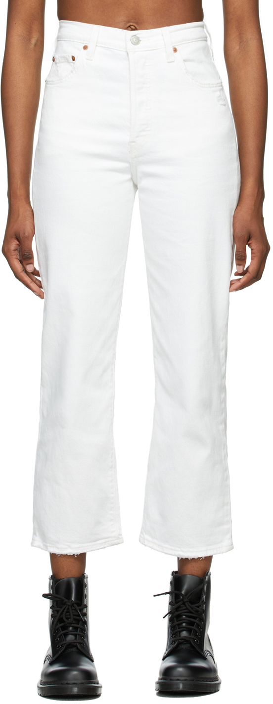 Levi's White Ribcage Ankle Straight Jeans