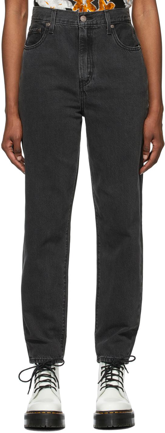 Levi's Black Denim Faded High Loose Taper Jeans