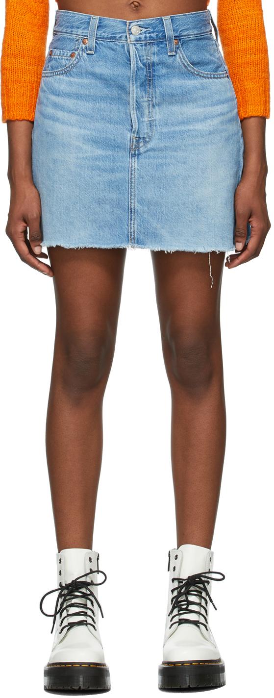 Levi's Blue Denim Ribcage Miniskirt