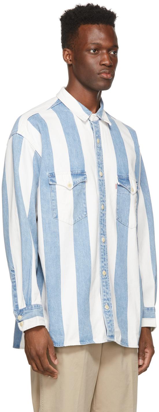 Levi's & ホワイト ストライプ オーバーサイズ Barstow デニム シャツ