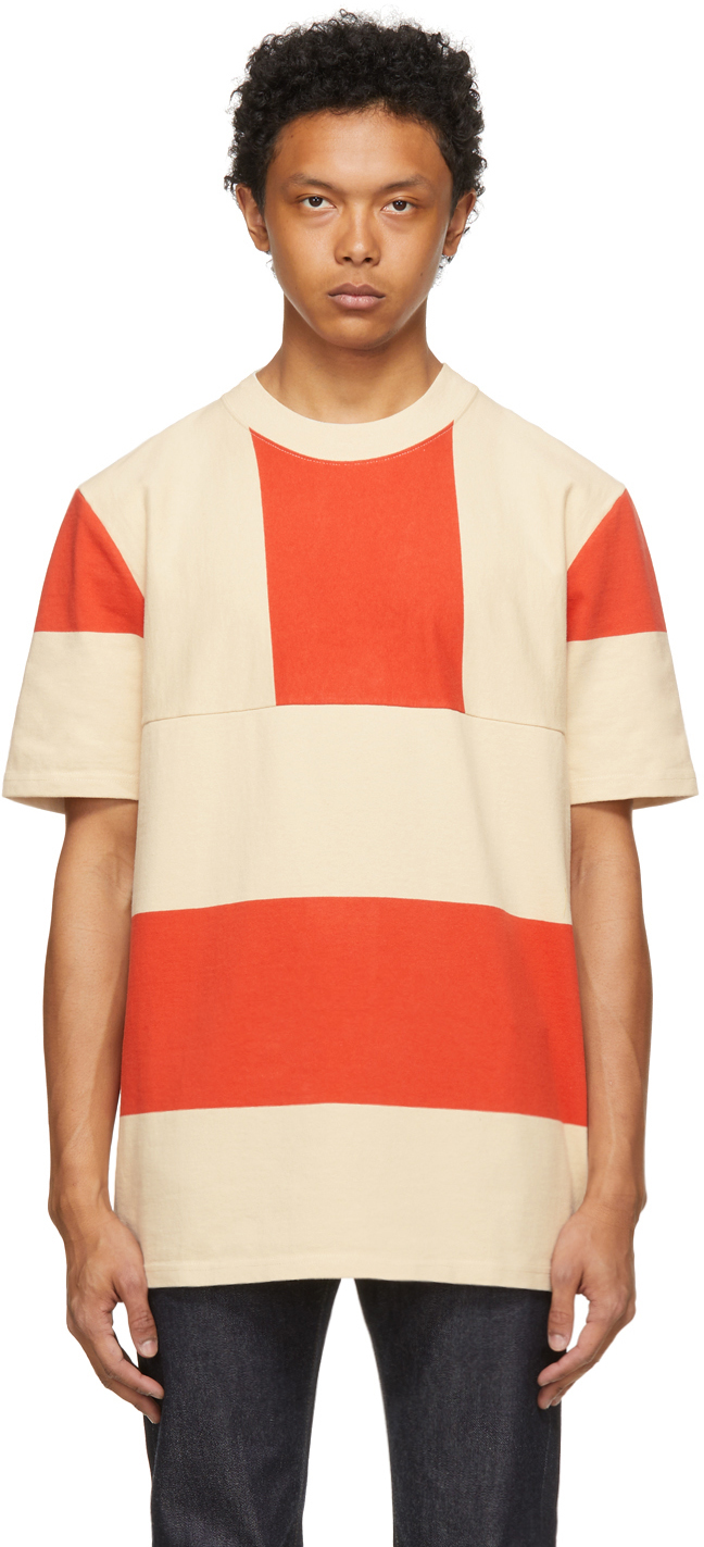 Red & Beige Central Station Design Edition Split Hem T-Shirt